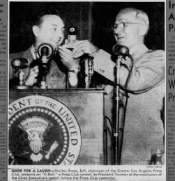 Walter Ames, Chairman of the Los Angeles Press Club with President Harry S. Truman