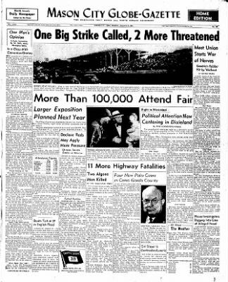 The Mason City Globe-Gazette from Mason City, Iowa on August 18, 1952 · Page 1