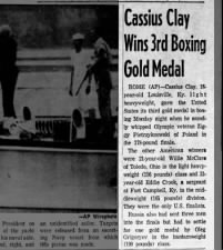 Cassius Clay wins boxing gold medal at 1960 Olympics in Rome in light heavyweight division