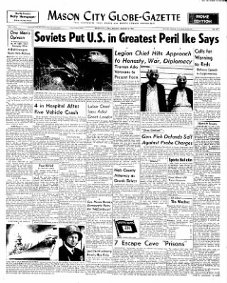 Globe-Gazette from Mason City, Iowa on August 25, 1952 · Page 1