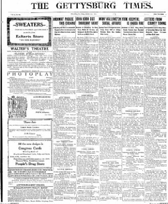 The Gettysburg Times from Gettysburg, Pennsylvania on October 31, 1913 · Page 1