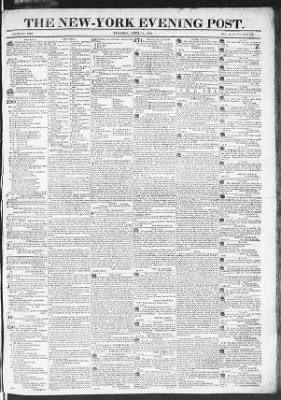 The Evening Post from New York, New York on April 14, 1818 · Page 1