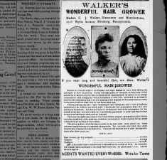 Ad with photos & prices for Madam C.J. Walker's Wonderful Hair Grower & other products, 1909
