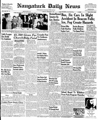 Naugatuck Daily News from Naugatuck, Connecticut on December 5, 1949 · Page 1