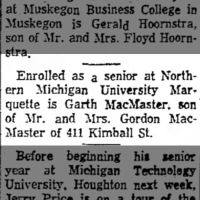 the evening news_sault_ste. marie mi_16Sep1964_pg6 - Enrolled as a senior at Northern Michigan...