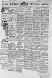 Sample Kansas Siftings front page