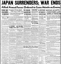Japan surrenders and the war ends