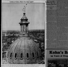 1936 photo of the dome of the Texas state capitol building with Goddess of Liberty statue
