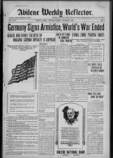 Headlines announce the end of World War I
