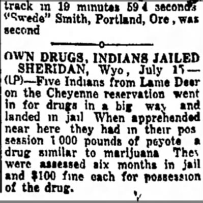 "Six months jail and $100 fine for 1,000 pounds of peyote! Woo-hoo!  - l f c track in 19 minutes 594 second? '""Vede""..."