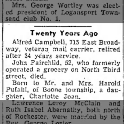 Charlotte Pufahl - Twenty Years Ago Alfred Campbell, 715 East...