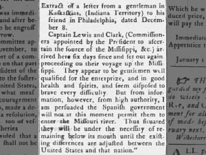Letter from a man in Indiana Territory to a friend in Philadelphia regarding Lewis and Clark