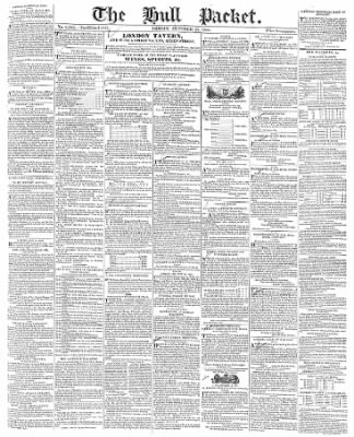 The Hull Packet; and East Riding Times from Hull, East Yorkshire, England on October 25, 1833 · 1