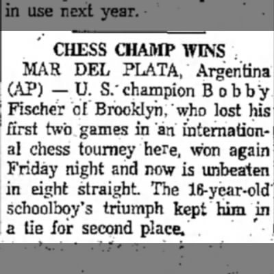 Chess Champ Wins - CHESS CHAMP WINS MAR DEL PLATA, Argentina (AP)...
