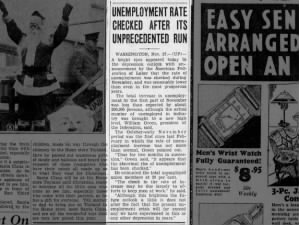 Unemployment rate statistics for November 1931