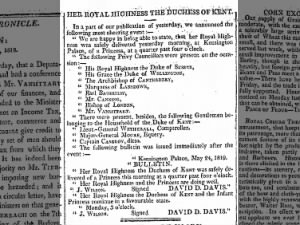 Newspaper announcement of the birth of Princess Victoria to the Duke and Duchess of Kent
