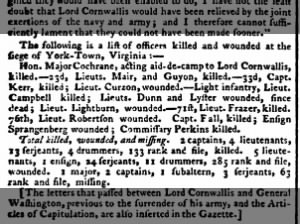 A list of the British officers killed and wounded at the siege of Yorktown