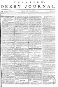 Sample Harrison's Derby Journal front page
