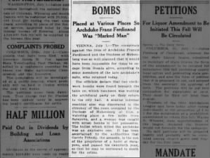 Officials claim that multiple bombs were placed along Archduke Franz Ferdinand's route