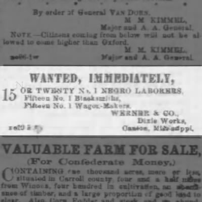Valentine Werner's ad for black workers - WANTED, IMMEDIATELY, 15 X OR TWENTY N. 1 XBKO...