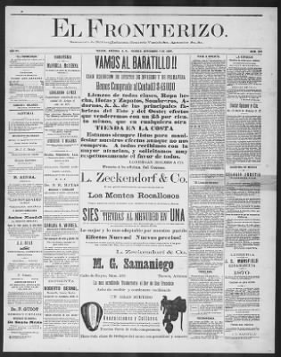 El Fronterizo from Tucson, Arizona on November 7, 1884 · Page 1