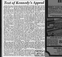 Kennedy gives his own account of Chappaquiddick Incident