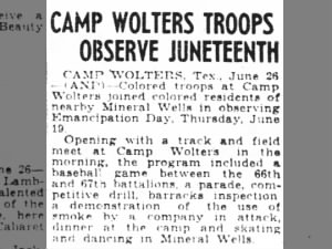 Juneteenth at Camp Wolters, 1941, includes track meet, baseball, parade, demonstrations, dancing