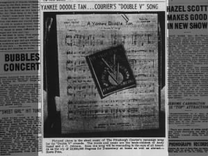 Picture of the sheet music for the Double V Campaign's song,