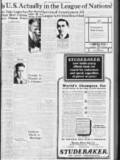 Newspaper piece discussing involvement of non-member United States in the League of Nations, 1927