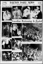 Ohio newspaper August 15 front page with V-J Day photos