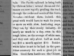 Chinese laborers work on the Transcontinental Railroad at about half the pay of white workers, 1865