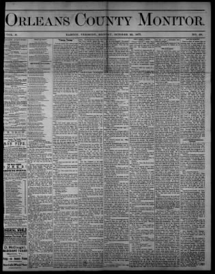 Orleans County Monitor from Barton, Vermont on October 22, 1877 · 1