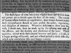 Washington's opinion of the Continental Army after being appointed its commander-in-chief