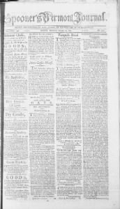 Sample Spooner's Vermont Journal front page