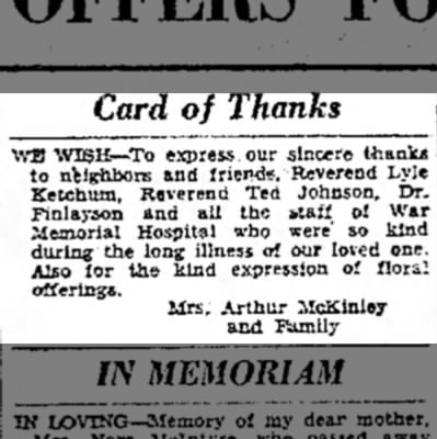 - Card of Thanks WB WISH—To express our sincere...