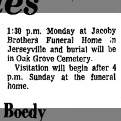 Augusta Groppel Antrobus obit, col 2 - 1:30 p.m. Monday at Jacoby Brothers Funeral...
