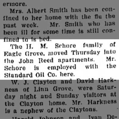 - The II. M. Schore family of Eagle Grove, moved...