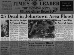 Headline and excerpt from 1977 Johnstown Flood also caused by heavy rainfall