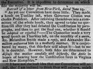 Alexander Hamilton mentioned in a letter describing debates about the Constitution in New York