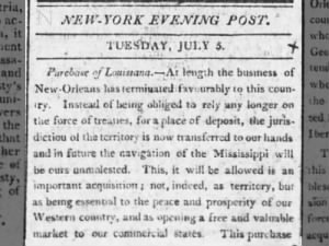 Excerpt from editorial article detailing the success of the Louisiana Purchase, July 5, 1803