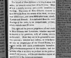 An editorial description of New Orleans and questions as to its future governance after purchase