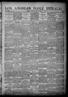 Los Angeles Herald from Los Angeles, California on April 3, 1888 · Page 1