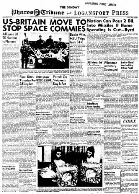 Logansport Pharos-Tribune from Logansport, Indiana on November 10, 1957 · Page 1
