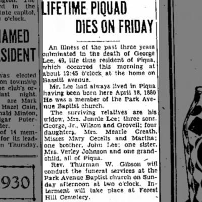 George Lee obituary - May 9, 1930