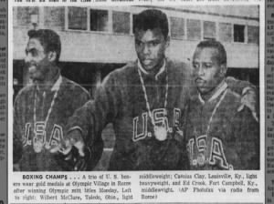 Photo of 3 American boxing gold medalists at 1960 Olympics: Wilbert McClure, Cassius Clay, Ed Crook