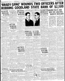 Historical Memorabilia Great Al Brady Gang Bandits Goodland Indiana Bank Robbery Escape 1937 Newspaper