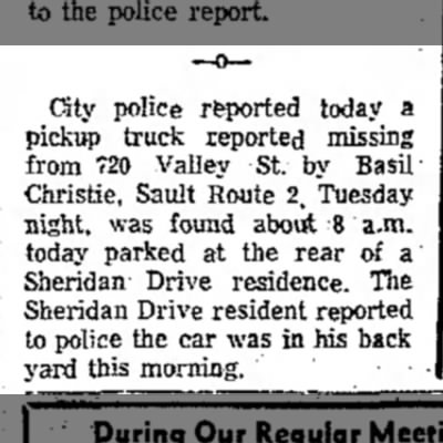 - City police reported today a pickup truck...