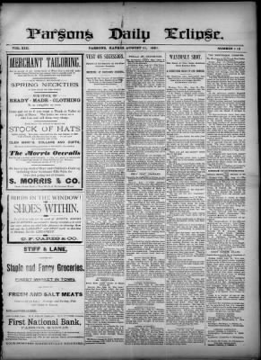 Parsons Daily Eclipse from Parsons, Kansas on August 21, 1891 · 1