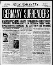 Quebec, Canada, newspaper front page from Victory in Europe Day: May 8, 1945