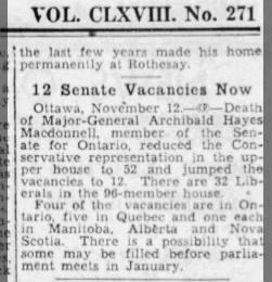 Senate vacancy on death of Archie,1939